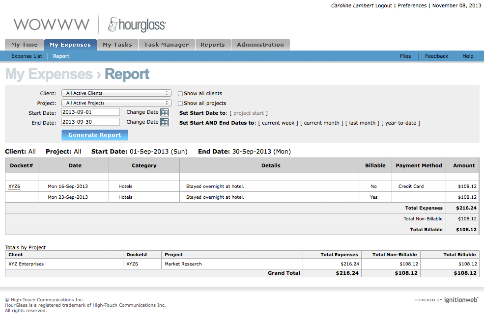 hourglass simple detailed expense report software solutions