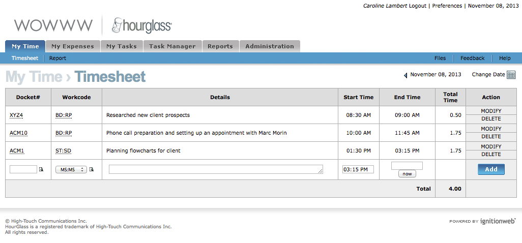HourGlass Timesheet | Simple interface, efficient user experience ...